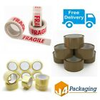 Parcel Packing Tape Brown/Clear/Fragile 48mm x 66m Cartons Sealing Strong Rolls