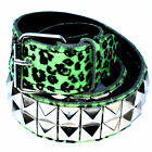 Green Leopard Pyramid Studded Belt - Punk Rockabilly