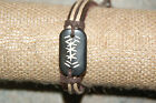 "Hemp and Leather Tribal Bracelet--""No Fear"" Earth Tone Etched Charm"