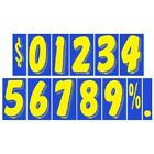 7 1/2 Inch Blue & Yellow Numbers Car Dealer Windshield Pricing Stickers You Pick