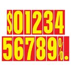 9 1/2 Inch Red & Yellow Numbers Car Dealer Windshield Pricing Sticker You Pick