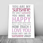 You Are My Sunshine Lyrics Music Canvas Print Framed Wall Art Picture