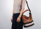 Women Bag Medium Bucket Tote Bag Canvas Check Ashby Shoulder Sac London