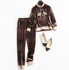 Women Occident Winter Autumn Pleuche Embroidery Bee Top +Pants Sport Casual Suit