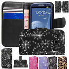 Diamond Bling Leather Wallet Flip Case Cover For Samsung Galaxy S5 S4 S3 & Mini