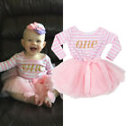 Long Sleeve Baby Girls Pink 1st  Birthday Outfits Tutu Dress Outfits Party Pink