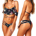 Women Swimsuit Bandage Flounce Backless Two Piece Padded Bikini Swimwear Beach