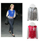 CLEARANCE LADIES NEW WOMENS LETTERMAN COLLEGE VARSITY HOODIE JACKET TOP