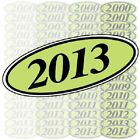 Chartreuse & Black Oval Year Model Car Dealer Windshield Pricing Sticker YouPick