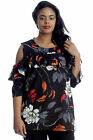 New Womens Top Plus Size Ladies Floral Print Cold Shoulder Frill Neck Leaf Warm