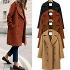 Women Winter Warm Long Coat Lapel Outwear Slim Trench Parka Jacket Overcoat Tops