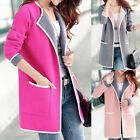 Women Lapel Long Coat Winter Warm Outwear Slim Cardigan Trench Jacket Overcoat