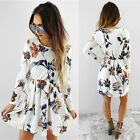 UK New Womens Floral Swing Print Long Sleeve Holiday Ladies Casual Party Dress