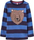 JOULES Boys Chomp French Navy Blue Bear Top - Long Sleeved Cotton T-shirt - NEW