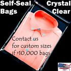 ~12x15 Clear Resealable Self Adhesive Seal Cello Lip & Tape Plastic Bags T Shirt