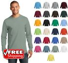 Mens Long Sleeve T-Shirt Heavy Cotton Crewneck Plain Comfort T Blank Tee PC61LS