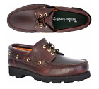 Timberland Mens 3 Eye Lug TFO Brown Leather Classic Boat Shoes Style 6502A USA+