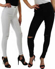 New Womens Ladies High Waisted Denim Jeans Fit Stretchy Ripped Skinny Pant