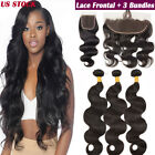 13x4 Pre Plucked Lace Frontal Closure with 3 Bundles Virgin Human Hair Body Wave