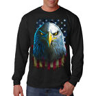 New Men's Eagle Stare US Flag Long Sleeve Black T Shirt American Patriotic Tee