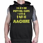 Men's Clips on the Smith Machine Black Sleeveless Hoodie Workout Fitness Gym Fit