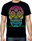 New Rainbow Sugar Skull Black T Shirt day of the dead death tee diamond neon
