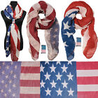 SHIRRING WRINKLES Vintage USA AMERICAN FLAG Scarf Long Shawl wrap HOLE Patriotic