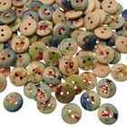 100/300 WOODEN BUTTONS Christmas Mix Card Making Sewing Scrapbook Craft 15mm