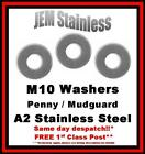 M10 Penny / Mudguard Washers A2 Stainless Steel