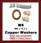 M8 Copper Washers M8 x 14 x 1 Pack size 6, 10 or 20