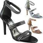 Womens Strappy Party Shoes High Stiletto Heel Ladies Going Out Sandals New Size