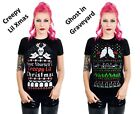 Ugly Christmas Women's T Tee Shirt Creepy Skull Ghost Zombie Tombstone Graveyard