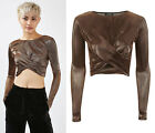 TOPSHOP Metallic Long Sleeve Crop Top Sizes 4 to 16