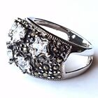 (SIZE 6,7,8) WHITE CZ STARS RING Chunky Band Marcasite .925 STERLING SILVER