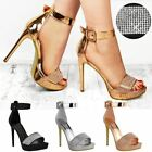 Womens Ladies Sparkly Diamante Platforms Stilettos High Heels Party Sandals Size