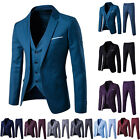 Mens Slim Fit Trendy Formal Suit Set Groom Wedding Suit Jacket Vest Pant