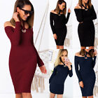 Womens Choker Knitted Off Shoulder Pencil Slim Bodycon Ladies Casual Knee Dress