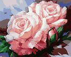 "16""x20"" DIY Paint By Number Kits On Canvas Frame Painted Craft 480 Pink flowers"
