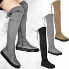 Womens Ladies Flat Over The Knee Boots Skater Punk Casual Stretch Size