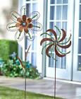 NEW Beaded Flower Pinwheel Metal Garden Stake Set Yard Art Spring Home Decor