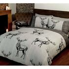 Highland Stag Charcoal Grey Plaid Check Duvet Set S/D/K By Rapport
