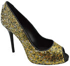 $650 DOLCE & GABBANA Gold Black Beads D&G Stiletto Peep Toe High Heels