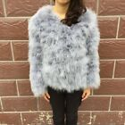 Women Real Fur Coat Genuine Ostrich Feather Fur Winter Jacket Top Quality 71002A