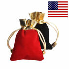25PCs Black Gold Red Velvet Drawstring Pouches Jewelry Gift Wedding Bags 3 Sizes