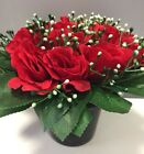 Christmas Memorial grave pots artificial Red Rose flower arrangement funeral