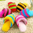 Pet Puppy Cat Squeaky Squeaker Sound Plush Chew Play Toy Small Dog Slipper Shape