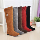 Womens Faux Suede Knee High Boots Lady Winter Buckle Flats Retro Casual Shoes