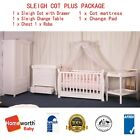 3 in 1 Sleigh Cot Baby Bed Cot Changer Mattress Package White Walnut Brown Crib