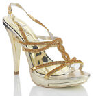 NEW WOMENS LADIES GOLD HIGH HEEL PLATFORM DESIGNER EVENING SANDALS SHOES SIZE