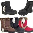 LADIES BROWN WINTER SNOW BOOTS WOMEN ANKLE HIGH FAUX FUR SLIP ON SNUG BOOTS 3-8